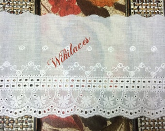 12 cm Wide Broiderie Anglaise Swiss Cotton Voile, Milk White Color, Imported