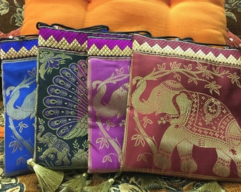 Beautiful woven silk Coin bag zip Pouch