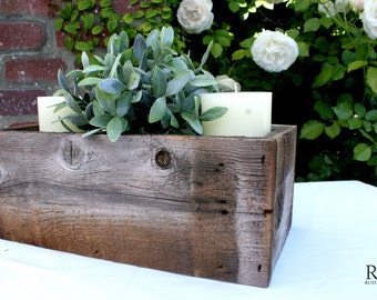 Rustic Table Centerpiece - Reclaimed Wood - Flowers, Succulents, Ball Jars
