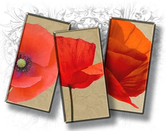 Poppies Domino 1 x 2 Inch Rectangle Images - Digital Collage Sheet - Printable Download - Printable Images - Glass Pendant Resin