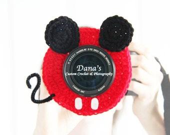 Mickey Camera Lens Buddy - Crochet - Handmade - Photography Prop - Kids - Baby - Children - Gift