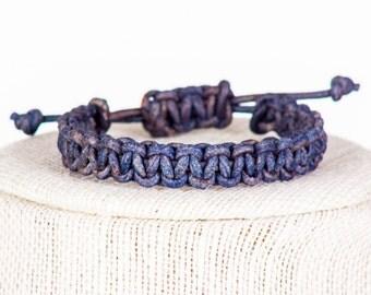 Distressed Blue Leather Macrame Bracelet