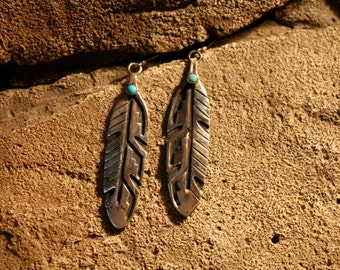 Sterling silver feather earrings with turquoise