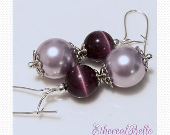 Bridal earrings bridesmaid earrings purple earrings Swarovski pearl clear wedding bride bridesmaid dangle drop earrings