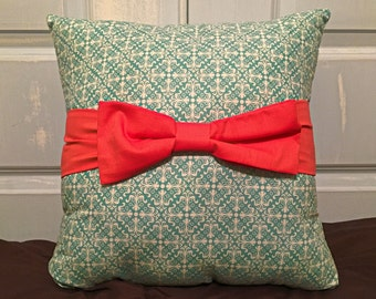 Decorative Pillow, Decorative Bow Pillow, Throw Pillow