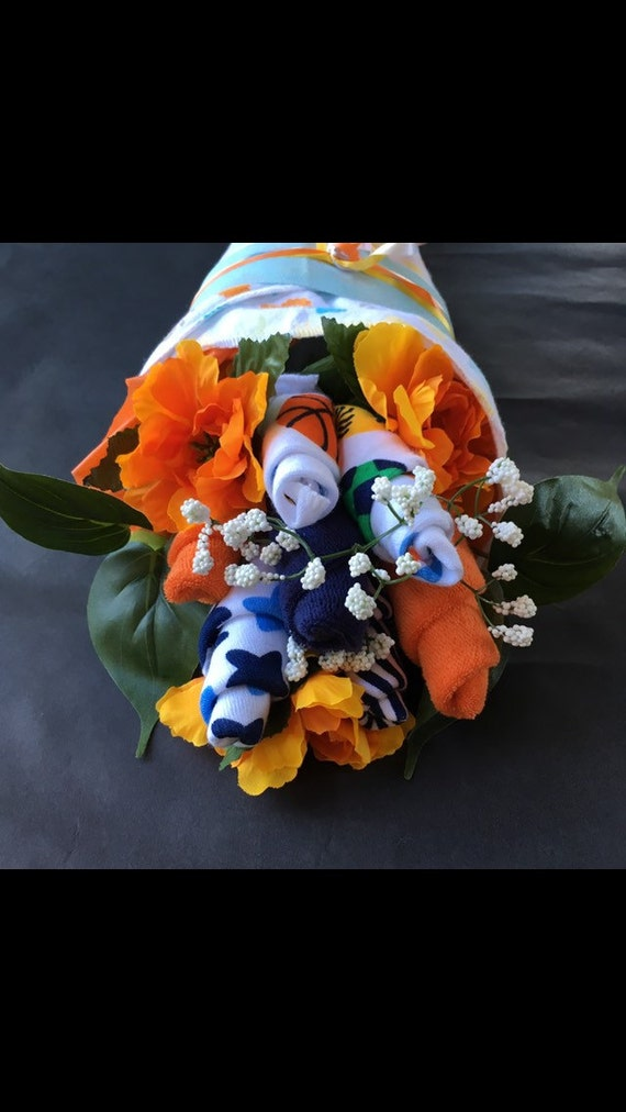 Orange and blue washcloth bouquet unique baby gift baby like this item negle Gallery