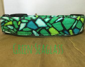 "Vivid Multicolor Green and Black Coastal Dog Collar ""Green Seaglass"""