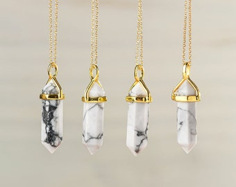 White Marble Point Necklace Magnesite Necklace White Pendant Crystal Layering Healing Crystal Yoga Pendant Double Point Necklace