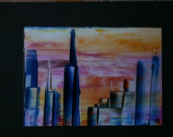 Blue Skyline skyscrapers sunset Encaustic by Mary