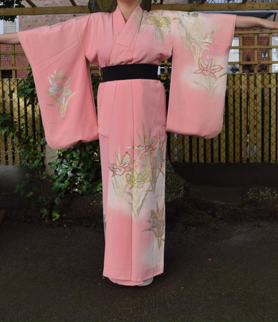 Vintage kimono synthetiq pink EV46