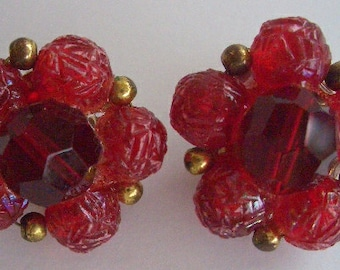 Vintage Ruby Red Clip On Earrings