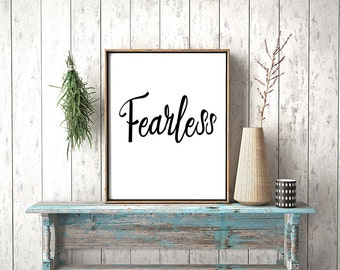 Fearless - Motivational quote, Quote, Printable poster, Typography, Instant download