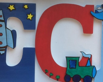 Wood hand painted letters with 3D airplane and clouds in the sky