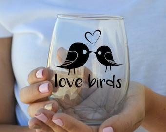 Love Birds - Wedding Gift Stemless Wine Glass