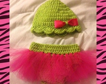 Pink and Green Tutu diaper set