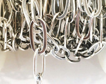 925 Sterling Silver Chain Flat Chain 7.25x16.25mm By Foot #407269