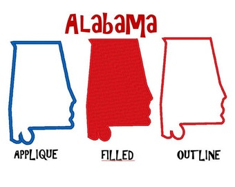 Bogo Free, USA State Alabama Embroidery Design Pack, Outline Stitch, Filled Stitch and Applique, Instant Download,