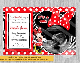PRINTED or Digital Red Minnie Mouse Baby Shower Invitations, Ultrasound Baby Shower Invitations, Minnie Shower Supplies Zebra Print