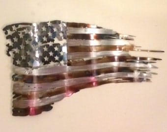 Plasma cut metal art, Battle worn tattered distressed metal Flag measuring 24""
