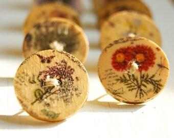 Unique rustic wooden floral button thumb tacks / push pins - 1 set of 10