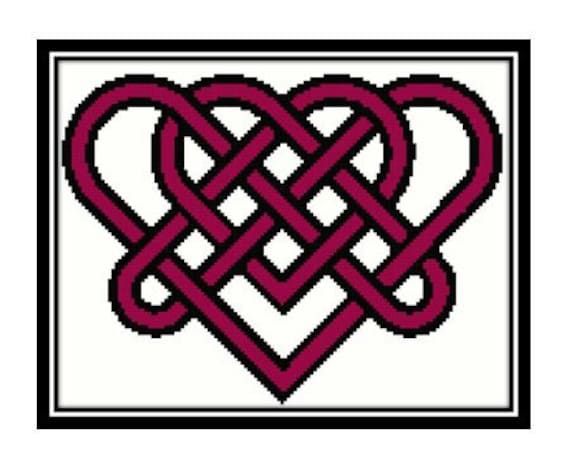 Celtic Double Heart Love Knot Cross Stitch Download By