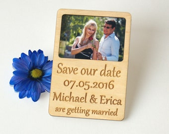Save the date photo magnet-Save the date rustic-Save the date magnet-Wood save the date-Wedding gift-Save the date magnet rustic
