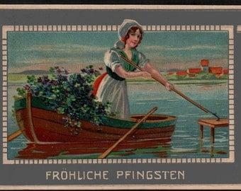 Frohliche Pfingsten Postcard Dated 1905 Wausau Wisconsin