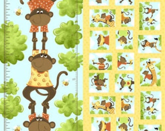 """Growth Chart Fabric - Susybee's Ollie Monkey, Growth Chart Ruler, 100% cotton fabric 43"""" x 30"""", A32"""