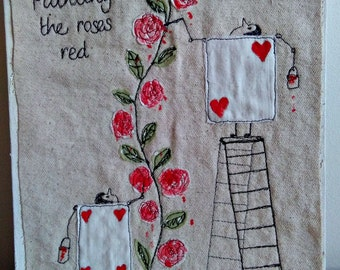 Painting Roses Red - Mixed Media Canvas by Su Parkes