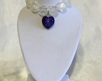 Purple Heart glass stretchy bracelet