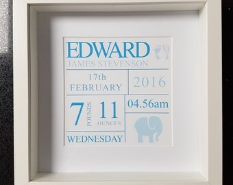 New baby - baby boy - newborn personalised framed print