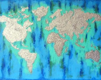 "Original Large Size Abstract Acrylic Painting, Blue World, 55.1""x39.4"", 140cmx100cm, green, blue, silver, texture"