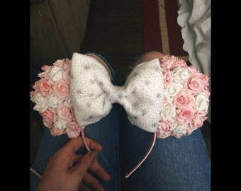Minnie Mouse Ears - Pink and White Roses - Made to order