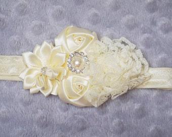 Ivory Colored Flower Cluster Headband Toddler