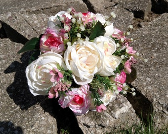 Ivory peony and pink carnation bouquet with baby's breath