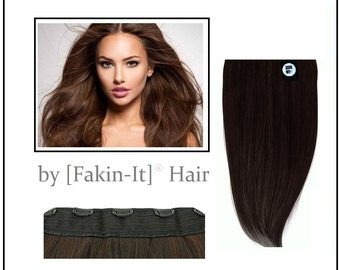 """Halo Esque by InstaGlam : Deluxe 160g Clip-in Remy Human Hair Extensions 18"""" long - One Piece by Fakin-It-Hair UK"""