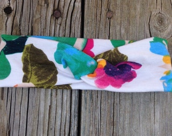 Floral and tan turban headband size 6-12 months