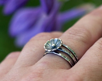 Antiqued Wildflower Trio Stacking Rings - Three Hammered Bands - Oxidized