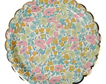 Floral Party Plates, Party Supplies,Large Floral Plates,Small Floral Plates,Cake Plates,Bridal Shower,Wedding Plates,Birthday Supplies