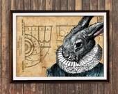 Quirky home decor Rabbit poster Patent print Animal print Steampunk decor SOL111
