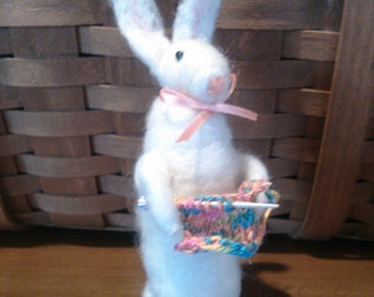 Felted Knitting Bunny