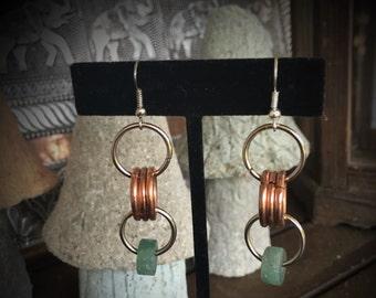 Copper, Silver & Jade Earings 081