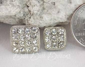 Silver Square Swarovski Crystals Rhinestone Vintage Button RS131 S, M