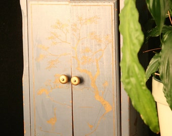 Wood Doll Wardrobe, Blue & Gold Oriental-look