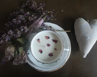Vintage Tea Cup Soy Candle - Rose
