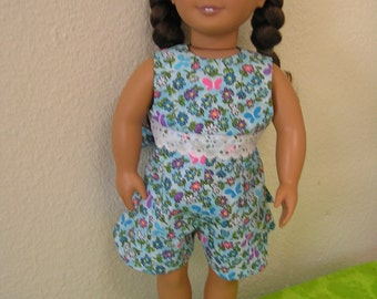 "Summery Pique Floral Romper in Blue for American Girls and other 18"" Dolls"