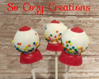 Gumball Machine Cake Pops! Cute Birthday, Shower, Party Favor or treat! Available in Red, Pink, Blue and yellow! 12 Red Gumball Cake Pops!!