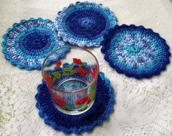 Set of Hand Crocheted Coasters (4 pcs)