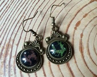 ohringe black green brown - earrings black green brown