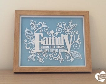 Framed Family Paper Cut-out Art - colour personalisation